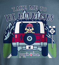 Puppie Love Rescue Dog Long Sleeve Graphic Tee/T-Shirt, Mountain Pup image 2
