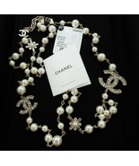 """Chanel Classic Large CC Logo Crystals Pearls 46"""" Necklace GWH New - $2,497.00"""