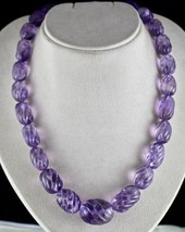 NATURAL BRAZILIAN AMETHYST BEADS CARVED 865 CARATS GEMSTONE LADIES NECKLACE - €519,70 EUR