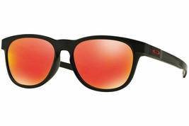 Oakley Stringer Herren Runde Sonnenbrille OO9315-09 Matt Schwarz / Rubinrot - $89.09