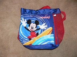 Disney Kids Mickey Blue Red Surfing Summer Beach Mesh Bag Backpack nb - $14.99