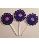 Nba Detroit Pistons Cupcake Toppers Birthday Party Decoration Blue Handm... - $15.00