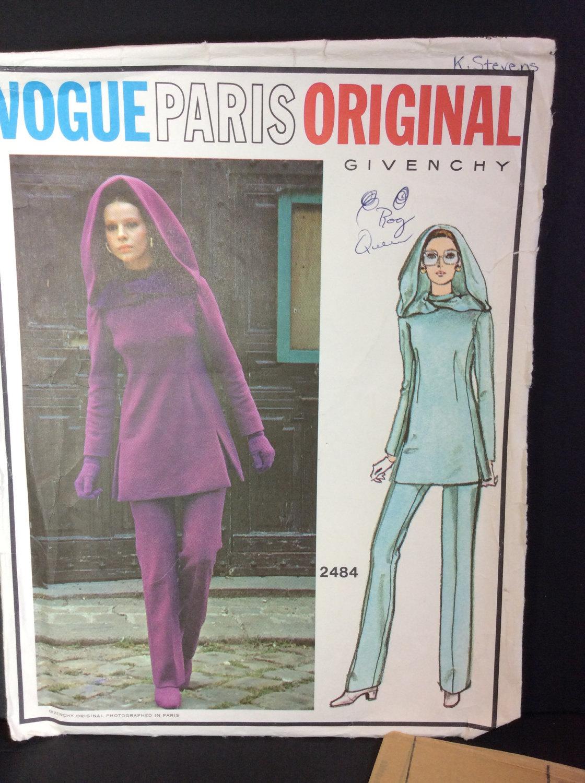 Vtg Vogue Paris Sewing Pattern 2484 Givenchy Size 10 Misses Tunic Pants Hood image 2