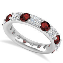 4.20 Ct Round Cut Real Diamond & Garnet 14K Gold Full Eternity Wedding B... - £807.73 GBP
