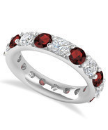 4.20 Ct Round Cut Real Diamond & Garnet 14K Gold Full Eternity Wedding B... - $1,005.99