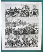 ARMY Medieval German Roman Banner Bearers -1844 Antique Print Engraving - $10.76
