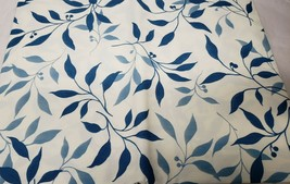 "PEVA FLANNEL BACK VINYL TABLECLOTH 60"" Round (4-6 ppl) BLUE LEAVES ON WH... - $12.86"