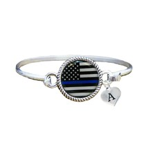 Custom Police Appreciation Thin Blue Line Silver Bracelet Jewelry Choose... - $14.87