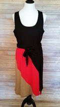 Completely Me By Liz Lange Sleeveless Dress Knit Diagonal Color Block Si... - $28.97