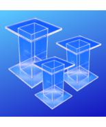 Small Acrylic Pedestal Set - 3 Display Pedestal Risers - Free Shipping - $21.99