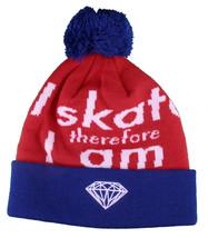 Diamond Supply Co I Skate Therefore I Am Fold Blue Red White Pom Beanie Hat NWT