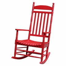 Outdoor Rocking Chair Red Finish Stylish Versatile Porch Patio Unique Fu... - $134.99