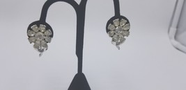 Vintage Silver Tone Sunflower Clip On Earrings With Faux Diamond Stones - $17.38