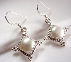 Pearl Earrings Dangle 925 Sterling Silver Rope Style Accents Square - $19.75