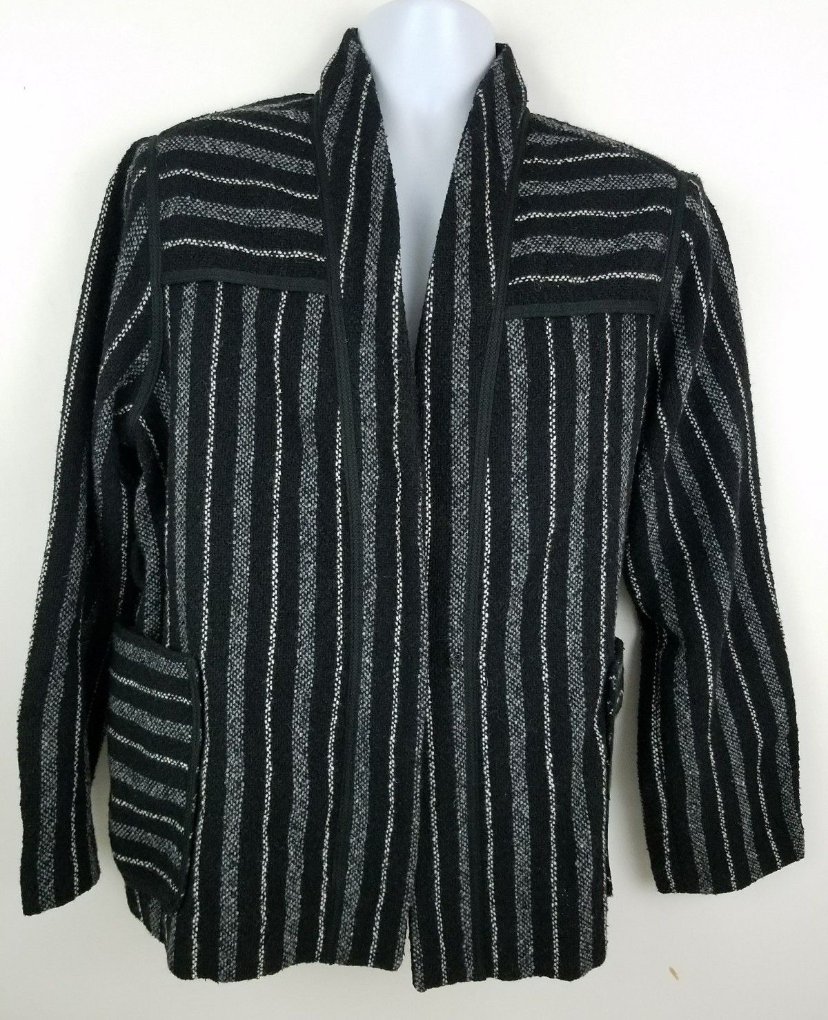 Primary image for GAP Midi Wrap Black Striped Wool Blend Women's Coat Sz M