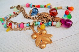 Art Deco Glass Fruit And Metal Colorful Dangle Strands Necklace Chunky V... - $128.67