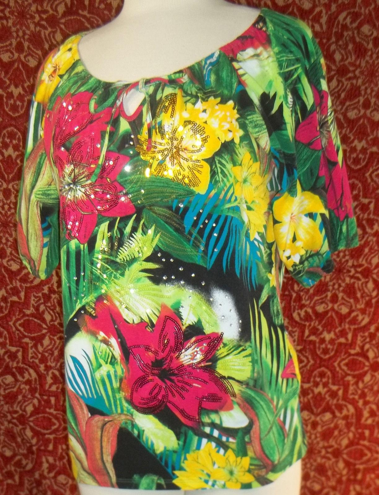 THOMAS & OLIVIA stretch cotton floral short sleeve tunic blouse PL (T2503C8G) image 4