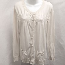Ann Taylor Loft L Cardigan Ivory Pima Cotton Smocked Detail Pockets Sweater - $19.58