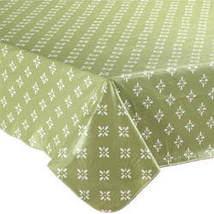 Heritage Vinyl Table Cover By Home-Style Kitchen-60X120OBLONG-GREEN - $19.39