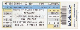Rare LIFEHOUSE 7/10/03 Myrtle Beach HoB Concert Ticket! - $2.96