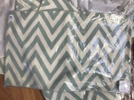 Pottery Barn Chevron Lumbar Pillow Cover Porcelain Blue 16x26 Embroidere... - $49.50