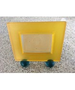 "Whimsical Yellow/Turquoise Frosted Acrylic Photo Frame 5"" X 4 3/4""  - $14.96"