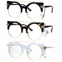 Womens Retro Half Rim Round Mid Century Vintage Style Eye Glasses - $12.95