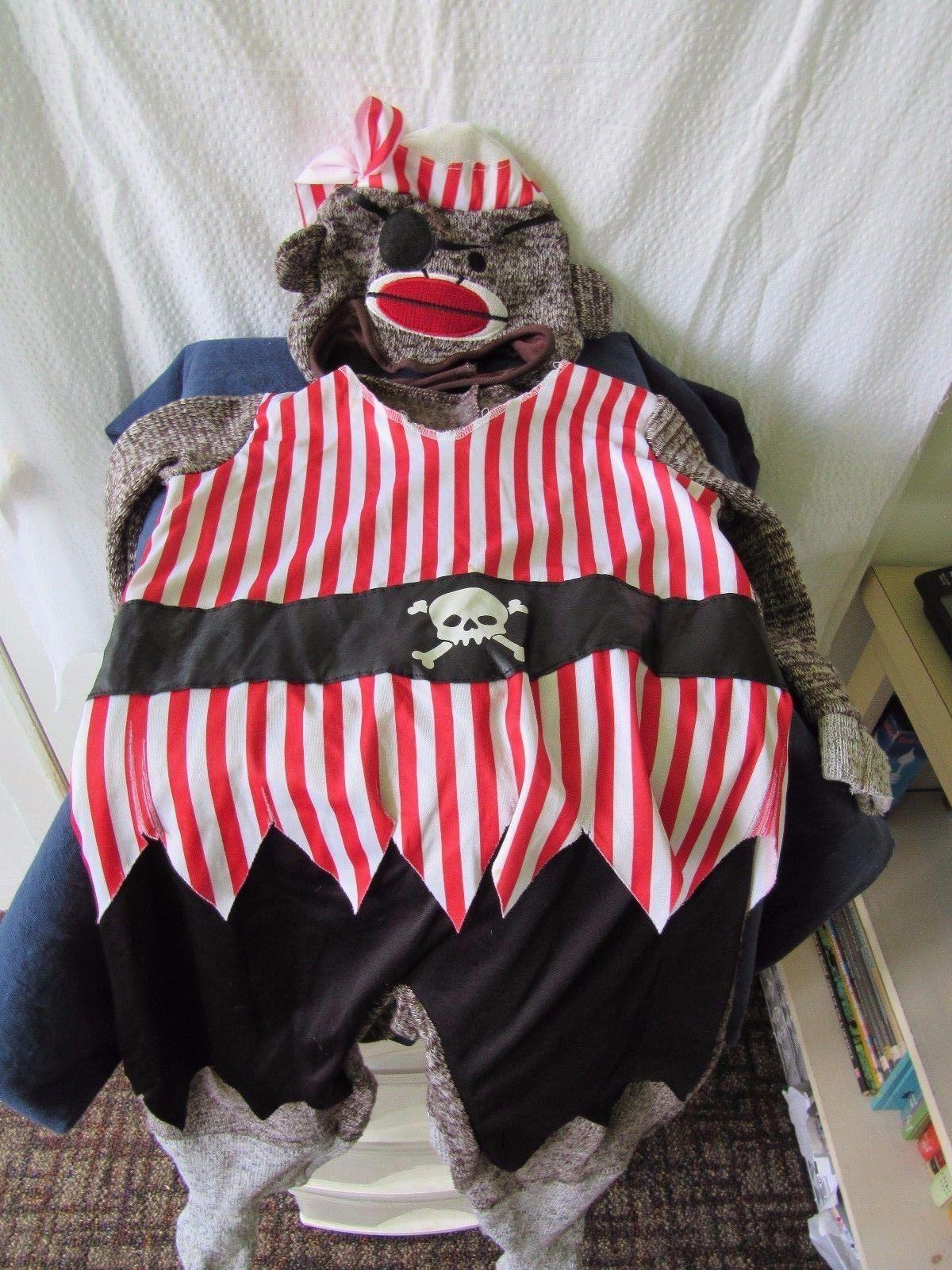 2 Piece Pirate Sock Monkey Size 4T Costume