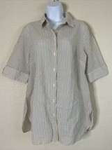 Chico's Womens Size 1 Tan Striped Lace Up Back Button Up Shirt Elbow Sleeve - $18.22