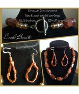 Brown Goldstone Necklace and Earrings Set - New  - $36.00