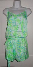 NWT LILLY PULITZER POOL BLUE ANY FINS POSSIBLE DEANNA ROMPER  L XL - $62.99