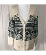 Marisa Christina Cardigan Sweater Button Down Sweater Beige Navy Tan Size M - $35.14
