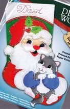 Design Works Santa Kitten Gray Cat Holiday Christmas Felt Stocking kit 5255 N - $29.95