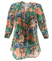 Liz Claiborne NY Floral Print Button Front Tunic Blue Floral 6 NEW A262177 - $32.65