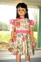 Vtg Sheer Chiffon Floral Cotton Girl Party Dress full circle Playpal Dol... - $71.24