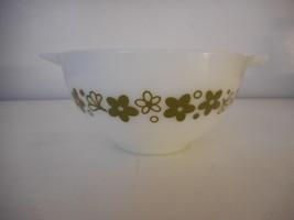Vintage Pyrex Crazy Daisy Cinderella Mixing Bowl 441 1.5 pt Green White - $19.79