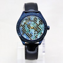 New GUESS W0626L3 Reptile Print Crystal Bezel Navy Blue Leather Band Women Watch - $108.90