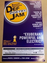 Russell Simmons Def Poetry Jam Charlotte Broadway Show Window Card Poste... - $29.99