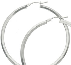 18K WHITE GOLD CIRCLE EARRINGS DIAMETER 40 MM WITH RHOMBUS TUBE, MADE IN ITALY image 2
