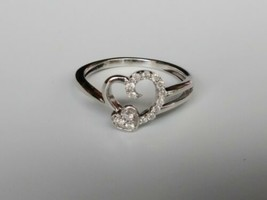 10kt White Gold Double Heart with Diamonds Ring - $128.70