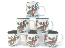 6 Vintage Potpourri Press 1987 Christmas Geese Red Ribbon Coffee Mugs Xm... - $34.32