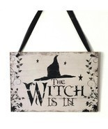 The Witch Is In Wooden Sign Halloween Creative Decoration Witch Hat Door... - $19.79