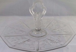 "Clear Depression Glass Center Handle Tidbit Plate Sandwich Tray 11"" etch... - $16.36"