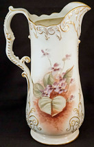 Antique Willets Belleek Hand Painted Pitcher Violets Raised Gold Trim Lo... - $169.00