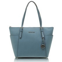 Michael Kors Tech Friendly Denim Jet Set Saffiano Leather Top Zip Tote Bag - ₨9,999.74 INR