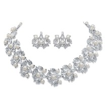 "Simulated Pearl and Crystal Silvertone Cluster Earrings and Necklace Set 16.5"" - $26.24"