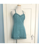 1950s Vintage Jantzen Skirted Swimsuit Panties Blue Polka Dot 18/40 Pin Up - $179.95