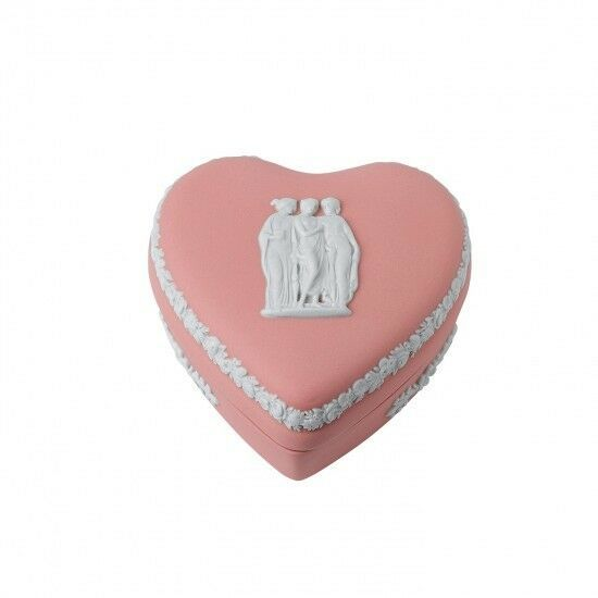 Wedgwood Jasperware Heart Box Pink Mini Trinket Box # 50600402830 New Valentine - $143.55
