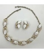 White Thermoset Aurora Borealis Rhinestone Enamel Necklace Clip On Earri... - $49.45