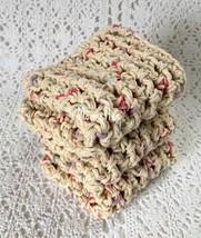 Handmade Cotton Dishcloths Crochet Kitchen Dish Cloths Beige - $18.75